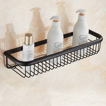 Bathroom Shelves Oil Rubbed Bronze Wall Rack Towel Hooks Washing Shower Cosmetic Basket Home Accessories Bath Shelf