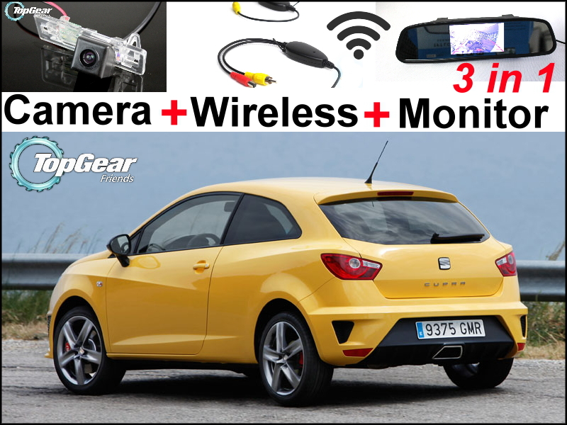 Special Car Wifi Camera + Wireless Signal + Mirror Monitor 3in1 Easy DIY Parking System For SEAT IBIZA MK4 SC 3D 2008~2015