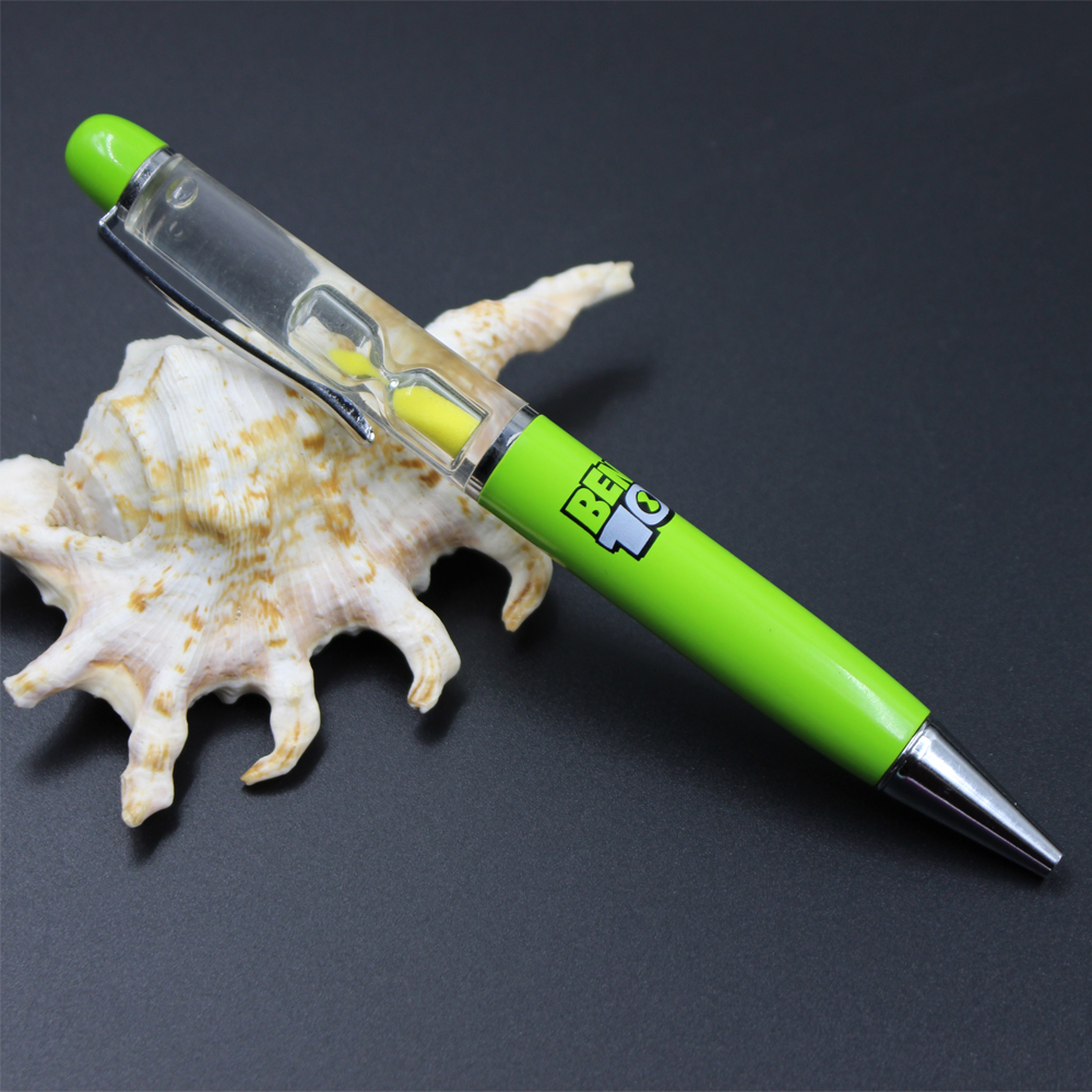ปากกานาฬิกาลอยทรายทรายปากกาลูกลื่นปากกาของเหลวปากการาคาถูกพร้อมนาฬิกาทรายลอยภายใน 10 สีให้เลือก