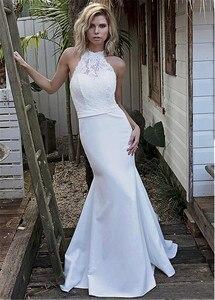 Image 4 - שיק סאטן הלטר צווארון בת ים חתונת שמלה עם תחרה אפליקציות Keyhole חזור לבן כלה שמלת vestido דה festa curto