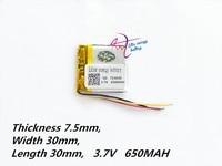 Batería de energía de 3 litros  753030 V  3 7 mah  650  batería de ion de litio Universal para tableta pc  7 pulgadas  8 pulgadas  9 pulgadas  MP3  MP4 y DVD
