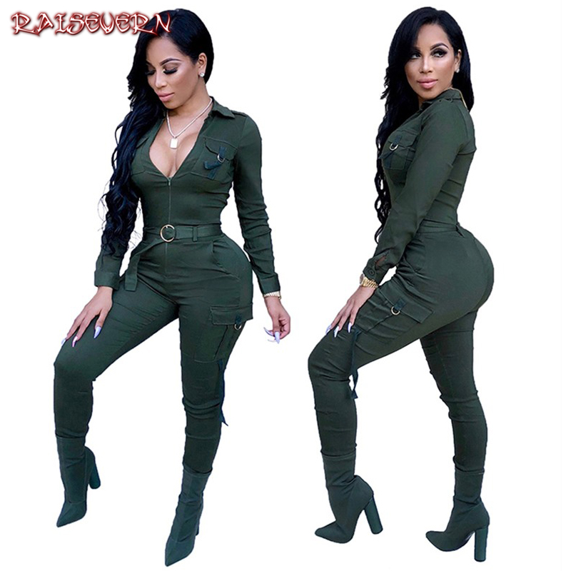 79222f163b18 RAISEVERN Front Zipper Sexy Rompers Womens Jumpsuit V Neck Long Sleeve  Pocket Skinny Elegant Casual Streetwear