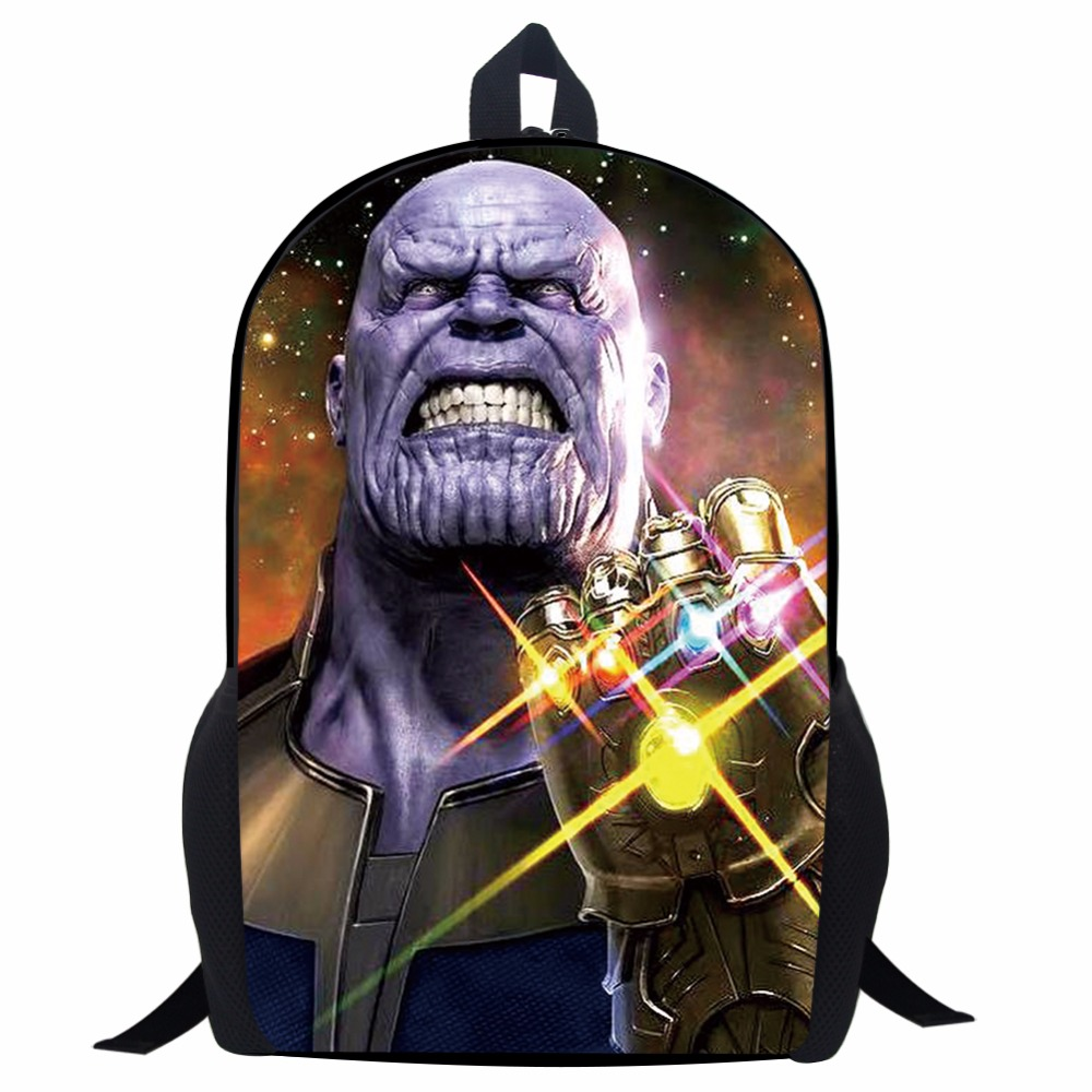 17 Inch Avengers Infinity War Backpack Thanos Black Panther Printing  Cartoon Children School Bags Boys Teenage Girls Mochila bbf7e2b93671e