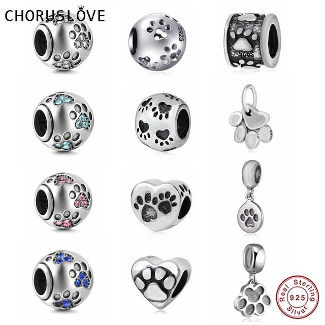 cb48eeffe Choruslove 925 Sterling Silver Dog Paw Print Charm Bead fit Pandora  Bracelets and Necklaces for Birthday Gift