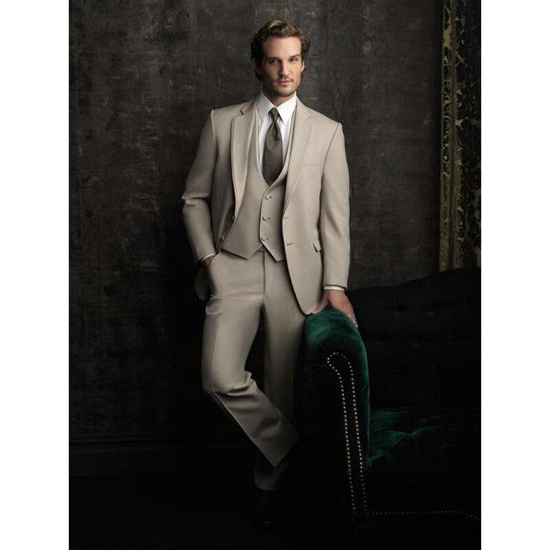 Costume Homme 2017 Fashion Groom Mens Suits Beige Tuxedos Men's Wear Wedding Party Groomsman Men Suit ( Jacket+Pant+vest+tie)