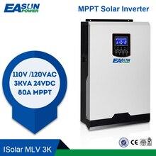 EASUN zasilanie 110V falownik solarny hybrydowy 3Kva 2400W inwerter Off Grid 24V 120V 80A MPPT czysta fala sinusoidalna przetwornica 60A ładowarka AC