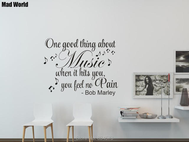 bob marley quote music makes you feel no pain party wall art