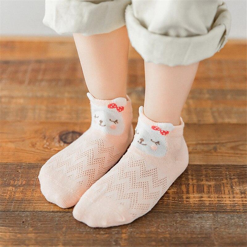 5 Pairs Baby Kid Girl Peachy Pink Green Striped Animal Moo Moo Ankle Socks