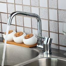 Роман Дизайн кухня кран Chrome полированной бортике одной ручкой горячая холодная вода красивые видных смеситель для кухни