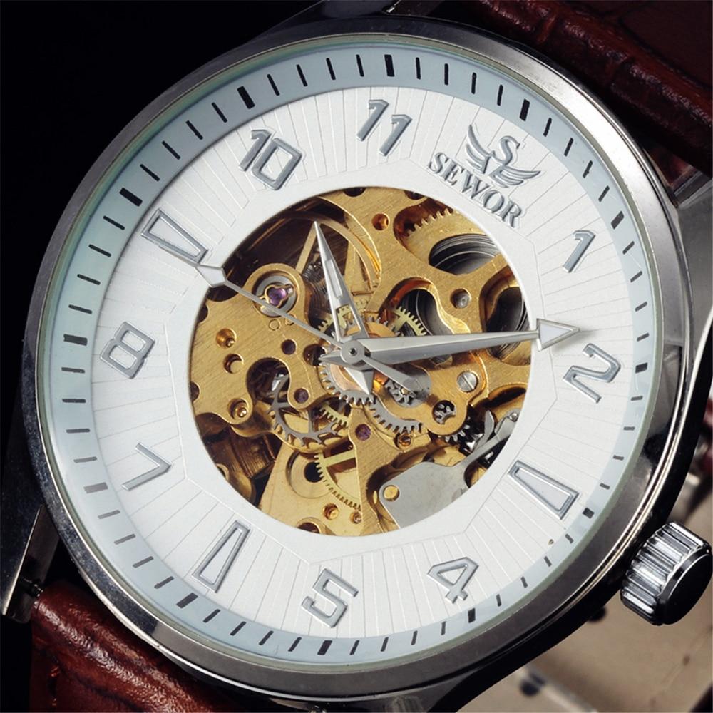 2016 Pánské top značky Sewor Luxusní skeletonové hodinky - Pánské hodinky
