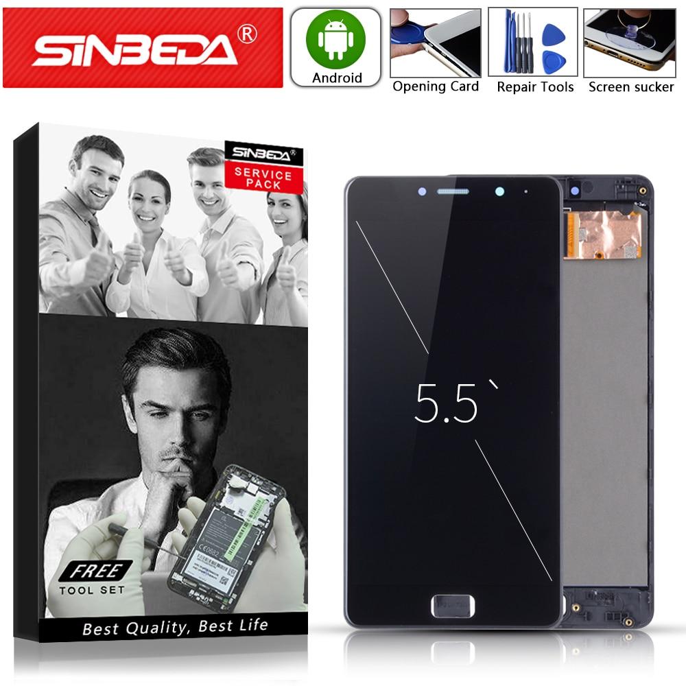 5.5 inch Zwart Goud Voor Lenovo Vibe P2 P2c72 P2a42 Lcd Touch Screen met Frame Display Vervanging Display Volledige monteren #