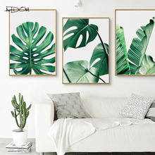 Artdom No Frame Watercolor Plant Leaves Poster Print Landscape Wall Art Canvas Painting Picture for Living Room Home Decor Cactu