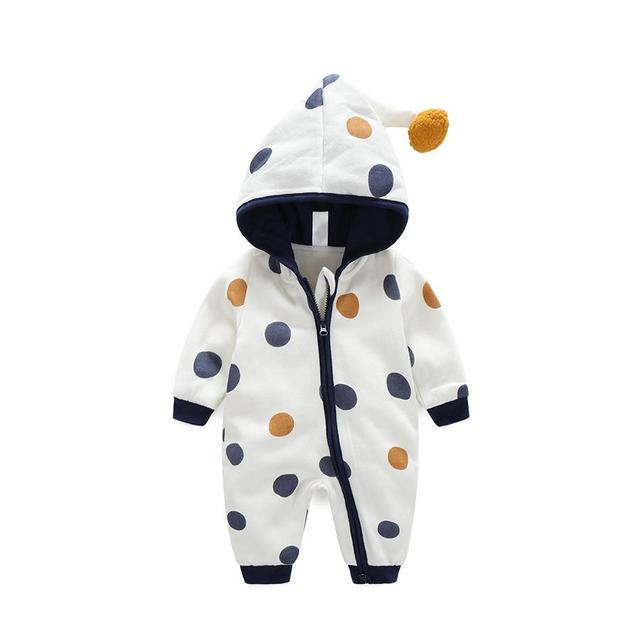 cc5bb0dc89c 2017 Baby Cotton Two Layers Romper Polka Dots Hoody Jumpsuit Autumn Winter  Newborn Outfits Baby One-piece Clothes