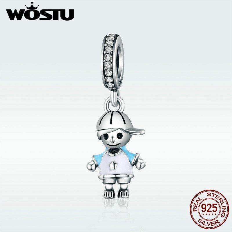 WOSTU Brand New 100% 925 Sterling Silver Little Cute Boy Son Pendant Dangle fit WST Charm Bracelet DIY Jewelry Gift DXC544