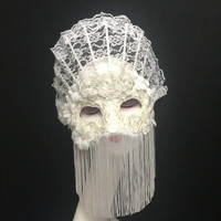 Venice White Adult Princess Masquerade Full Face Mask Unisex Halloween Mask