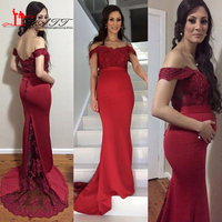 Evening Dresses 2016 New Cheap Off The Shoulder Lace Appliques Burgundy Mermaid For Pregnant Sweep Train