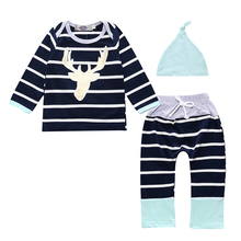 Free Shipping boys/gilrs 3pcs clothes set stripe long sleeve+Pants+hat set clothes newborn baby suit children clothing baby sets