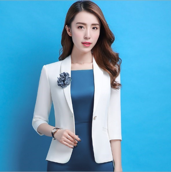 b31858e4401 Woman Work Blazer Dress Suit Two Piece Sets Plus Size 4XL Business Jacket  Dress for Women Office Wear Uniform Outfit Black White