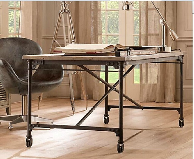 American country exports iron rivets, solid wood furniture dining table desk