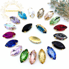 Classic style Mix color horse eye shape Glass Crystal sew on rhinestones with gold claw Diy shose Free shipping