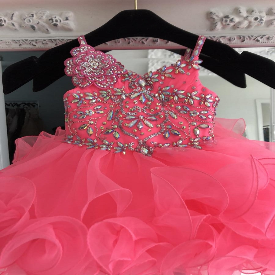 Infant Baby Girl Pageant Dress 2019 Cupcake Straps Neck Neon Pink Ruffles International Little Miss Prom Dance Gowns Crystals