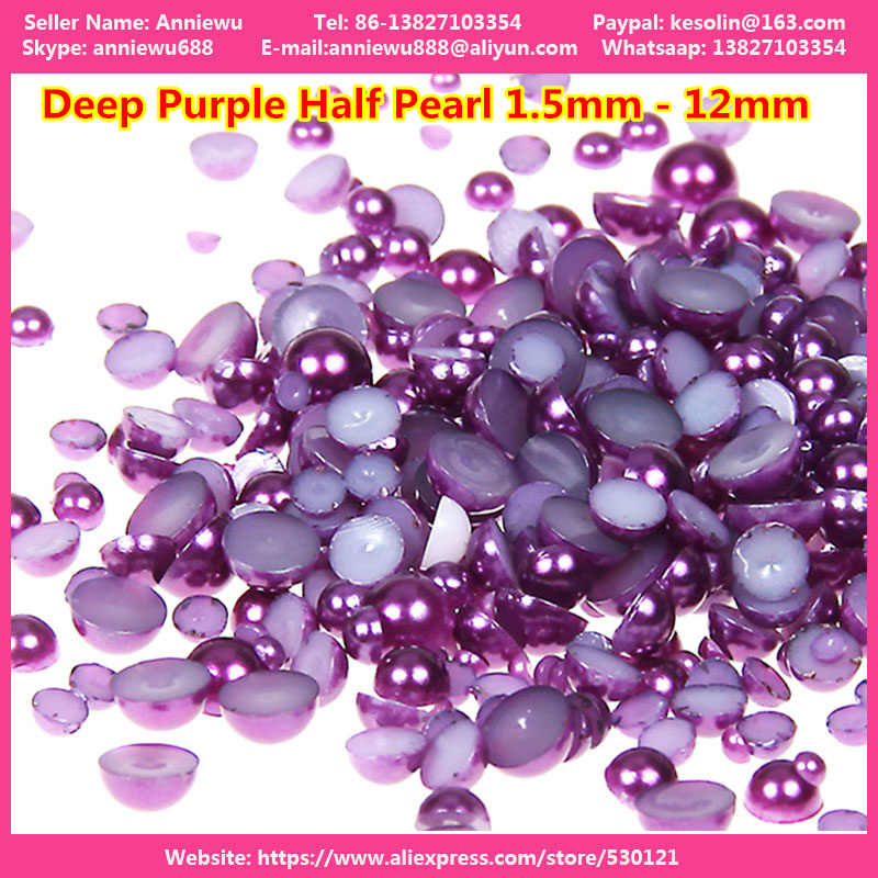 Light Purple/Deep Purple Nail Beads Half Round Rhinestone Flatback Pearls 2mm 3mm 4mm 5mm 6mm 8mm for DIY Nail jewelry Garment