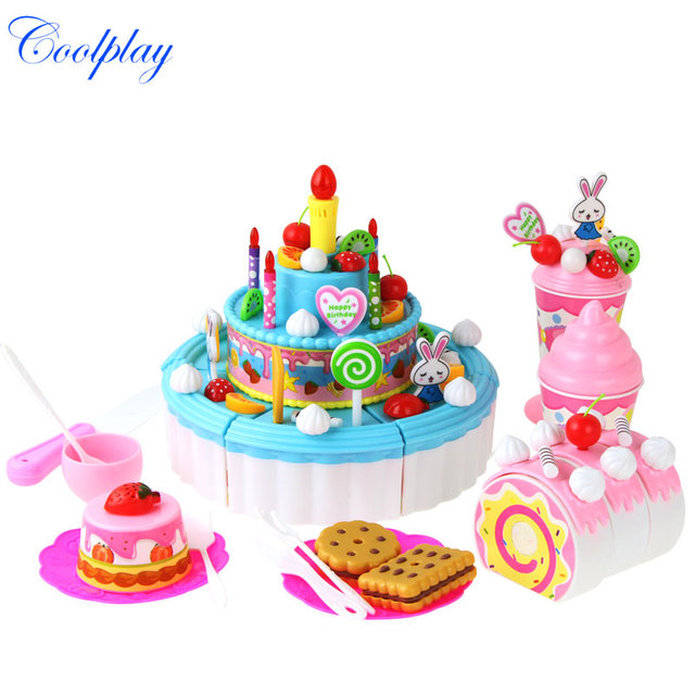 Coolplay 103PCS Toys Pretend Play Cutting Assembly Candle Birthday Cake Food Toy Kitchen