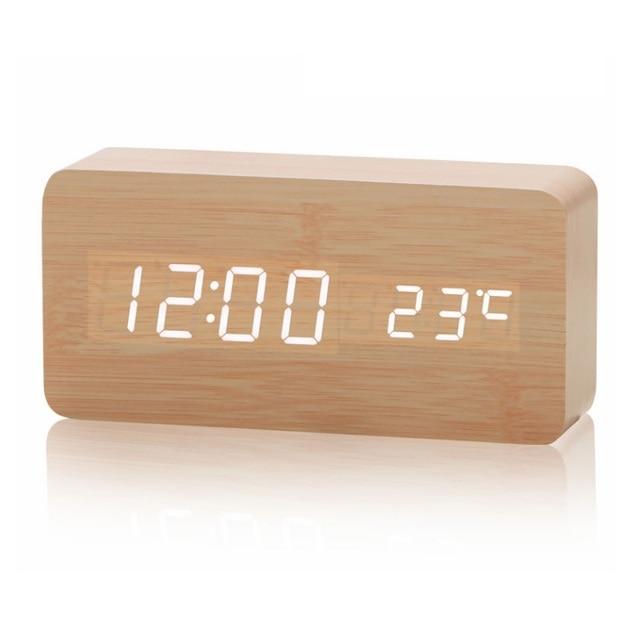 bade5bf7142 Novo de madeira LED Alarm Clock