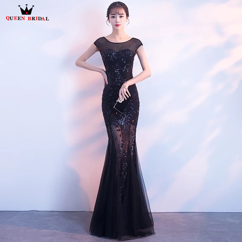 Sirène Tulle dentelle perles Sexy noir longues robes De soirée formelles 2018 nouvelle Robe De soirée Robe De soirée Robe De soirée WR03