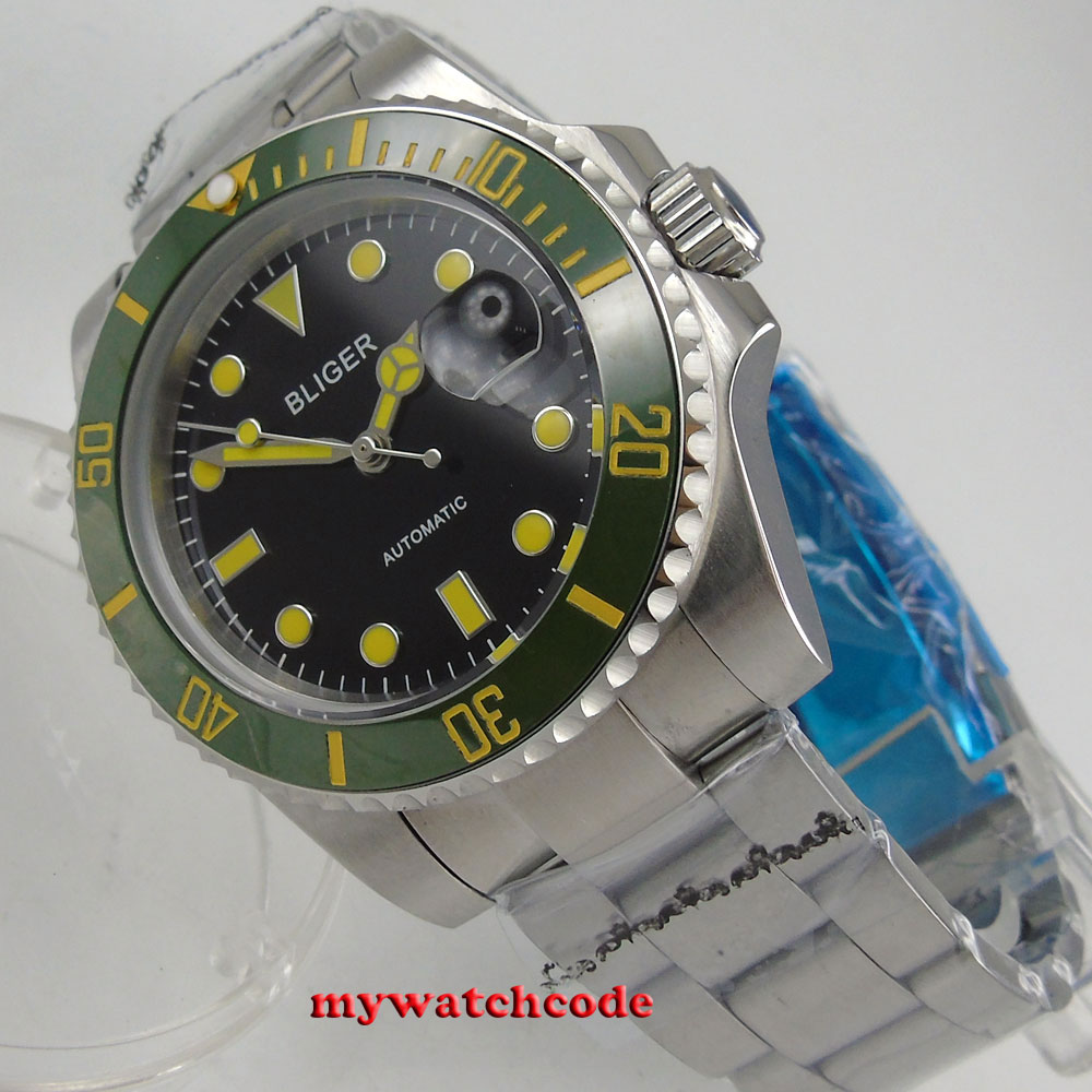 цена 40mm bliger black dial green bezel yellow marks date sapphire crystal automatic mens watch онлайн в 2017 году