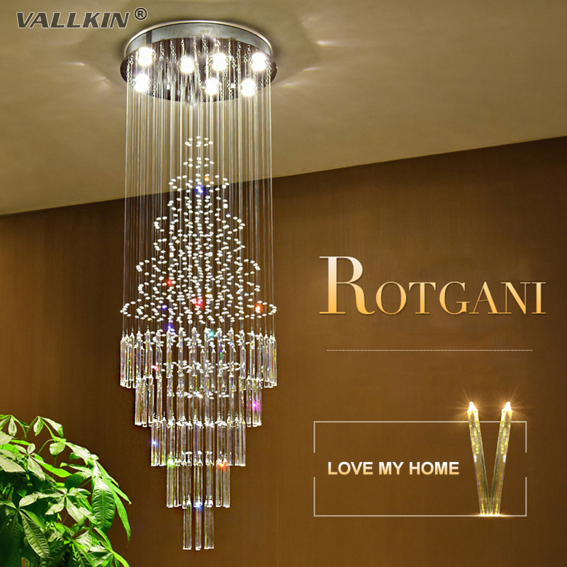 VALLKIN Stair LED Crystal Chandeliers Lights Crystal Chandelier Indoor Lighting Luxury Clear Glass Chandeliers Lamp Suspended