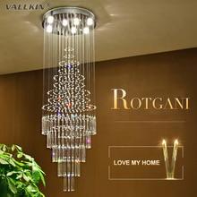 Vallkin treppen led-kristall-kronleuchter lichter kristall kronleuchter innenbeleuchtung luxus klarglas kronleuchter lampe ausgesetzt