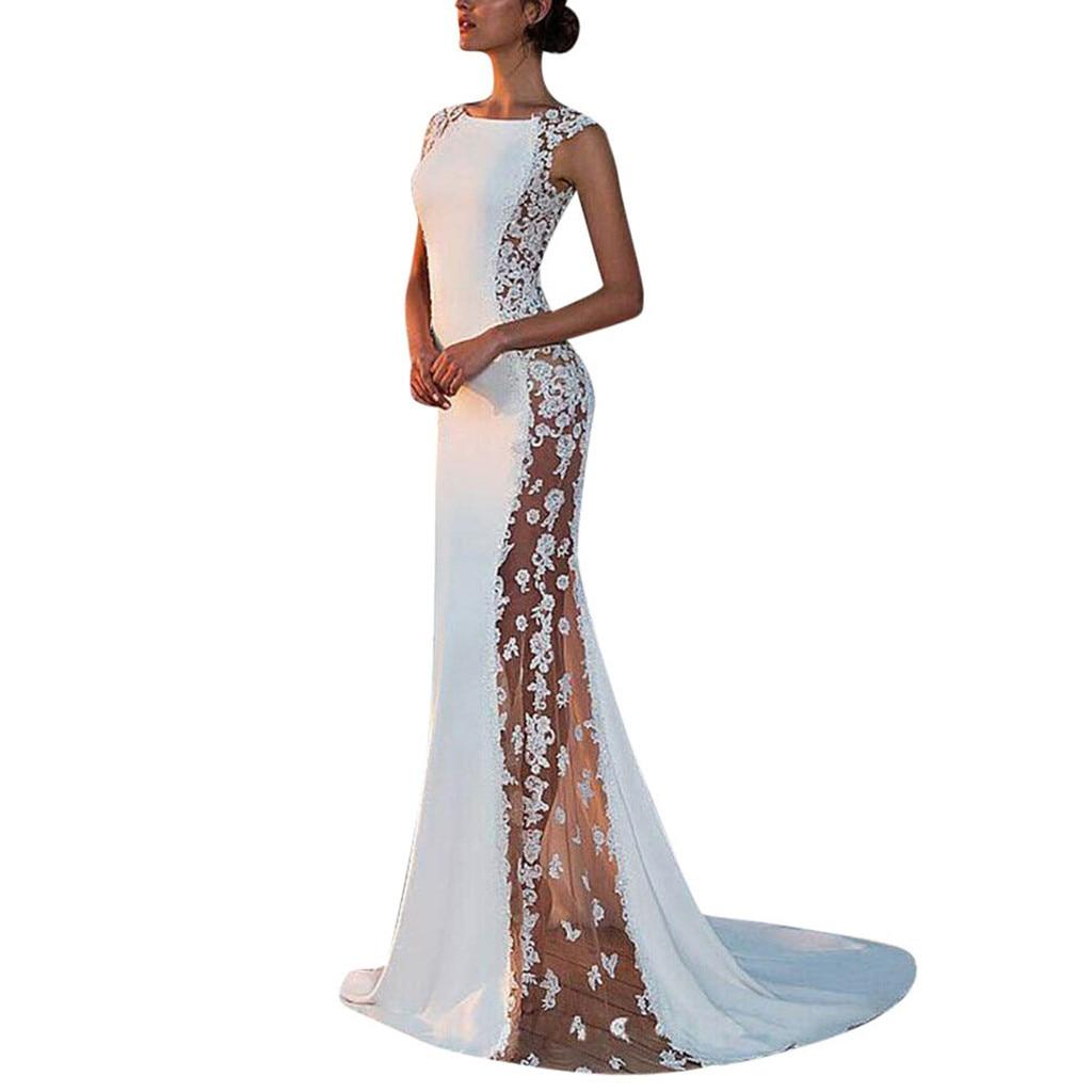 Женское однотонное официальное свадебное длинное платье летнее платье без рукавов Кружевное Вечернее платье для выпускного вечера белые п...