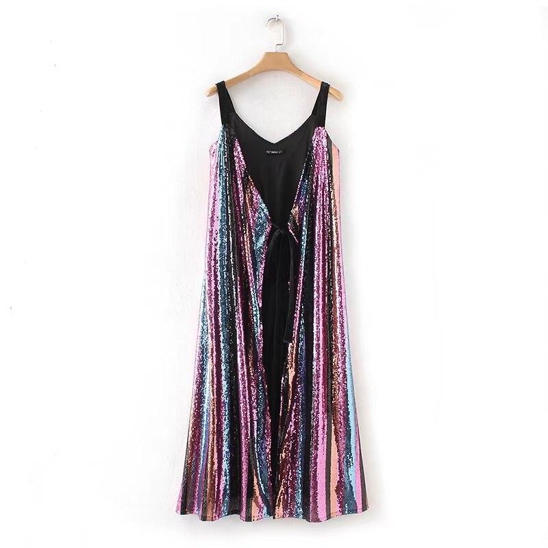 2018 été nouvelles femmes Sexy rayé robe femme v-cou Spaghetti sangle Vintage robes Club Bar robes Vestdios