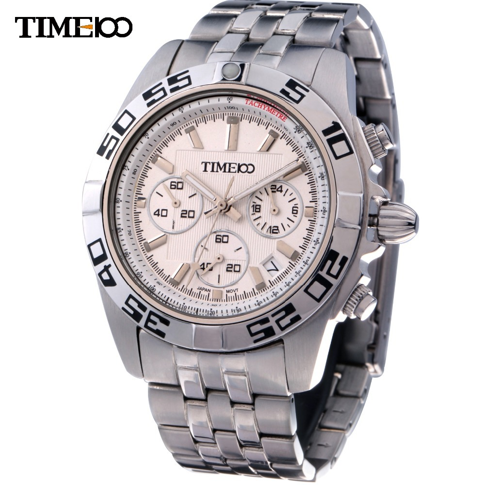 NEW Fashion TIME100 Men's Analog Display Stainless Steel Strap Round Dial Water Resistant 50m Men Casual Quartz Wirst Watch alexis miyota 0s10 chronograph fashion men analog quartz round watch with date stainless steel band water resistant