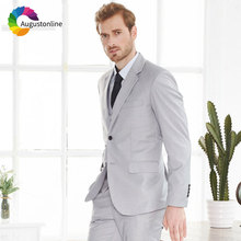 Custom Made Grey Men Suits Wedding Slim Fit Groom Tuxedos 3Pieces Pants Vest Man Blazers Masculino Formal Business