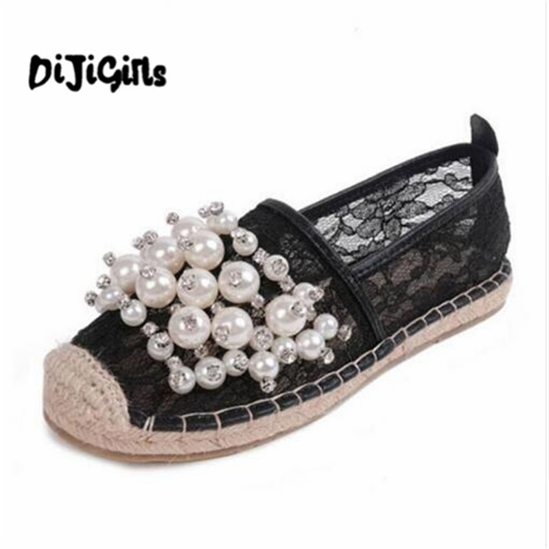 footwear spring women loafers cane hemp straw fisherman flat shoes rhinestone Breathable espadrilles woman flats zapatos mujer