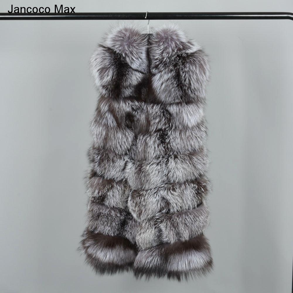 7 Naturel Silver Fox Rangées Gilet Mode En Top Fourure S7228 Qualité Chaud Réel Max Femmes Fourrure Jancoco Veste Hiver Capuche qt8FTxw