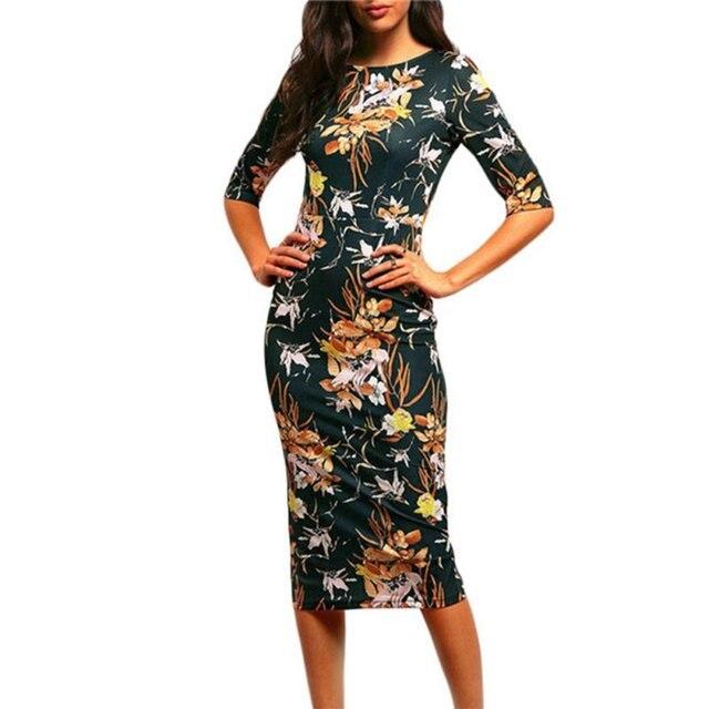 Женская Марка Bodycon Платья Новый Урожай 2016 Весна Лето Офис Зеленый Макет Шеи Цветочные Карандаш Midi Платье Vestidos