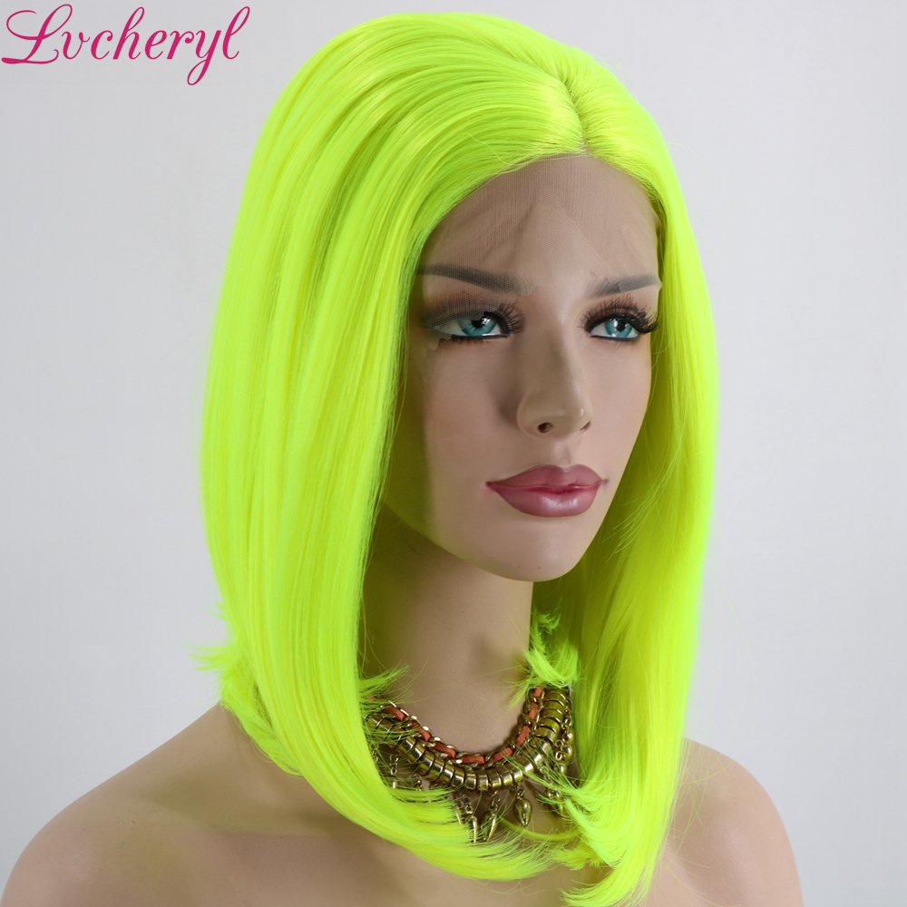 Lvcheryl Neon Yellow Color Heat Resistant Short Hair Wigs Synthetic Lace Front Wigs Cosplay Party Makeup Wigs For Summer
