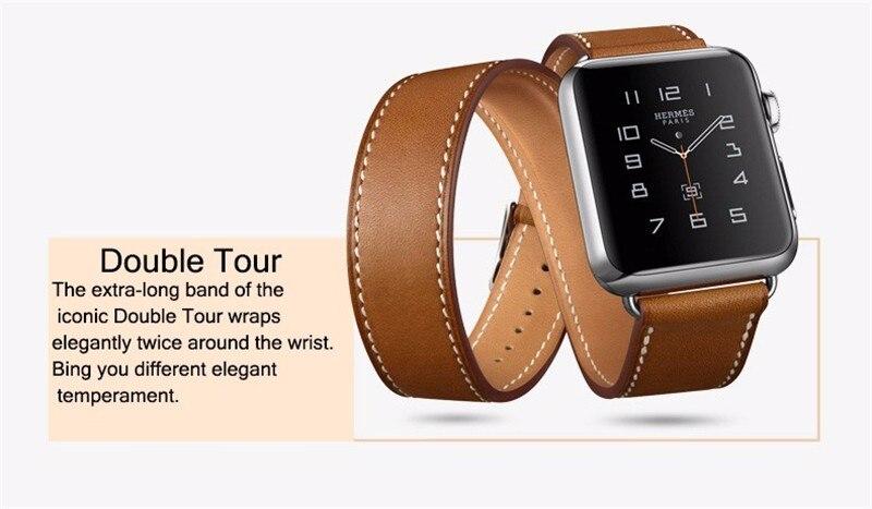 8445c52ab86 Pulseira de couro strap watch band para apple watch Duplo Turnê 42mm ...