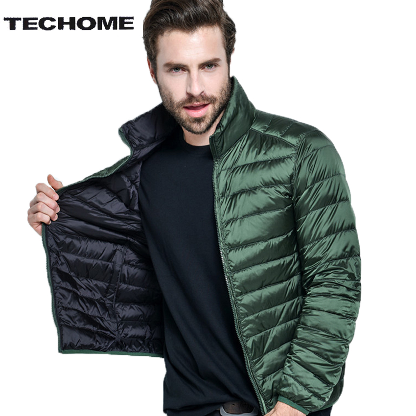 Sided wear 88% Down Content Winter White Duck Down Jacket Men Thin Ultra Light Winter Long Sleeve Winter Down Coat Plus Size 4XL