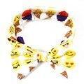 Emoji Impressão grande Arco Headbands Bonito Impressão de Algodão Turbante Atados Elásticos Acessórios de Cabelo Para Bebê Recém-nascido Da Menina