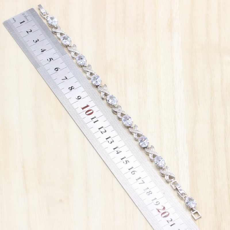 925 เงินสเตอร์ลิงชุดเครื่องประดับสีขาว Cubic Zircon ต่างหู/จี้/สร้อยคอ/สร้อยข้อมือสำหรับสตรีฟรีของขวัญกล่อง