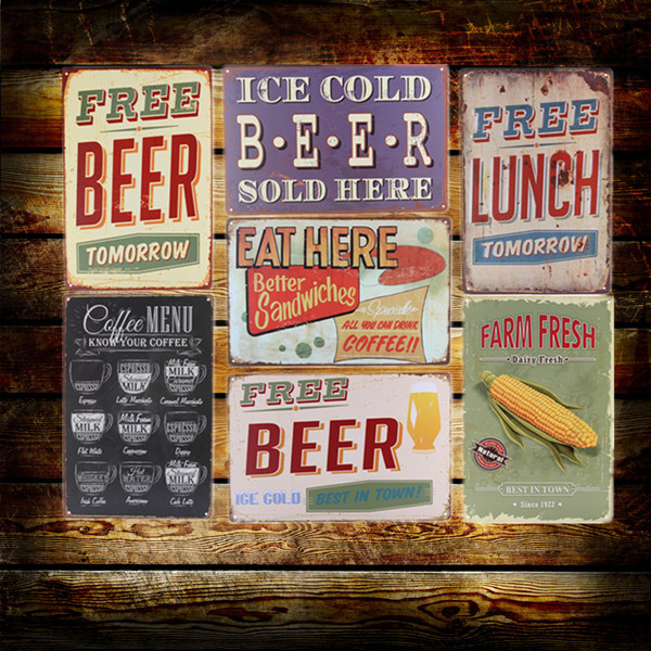 Bar Wall Decor Aliexpress : Buy Cold Beer Wine Here Wall Metal Painting  Retro