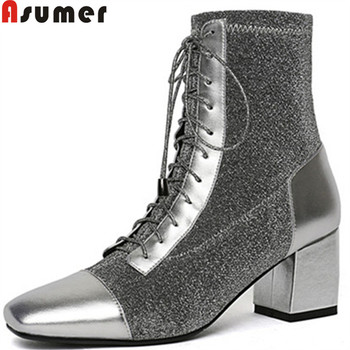 ASUMER 2020 fashion ankle boots for women square toe lace up synthetic+cow leather boots zip high heels autumn winter boots