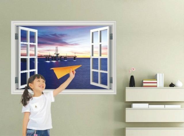Finestra harbour night view adesivi per i bambini soggiorno carta da
