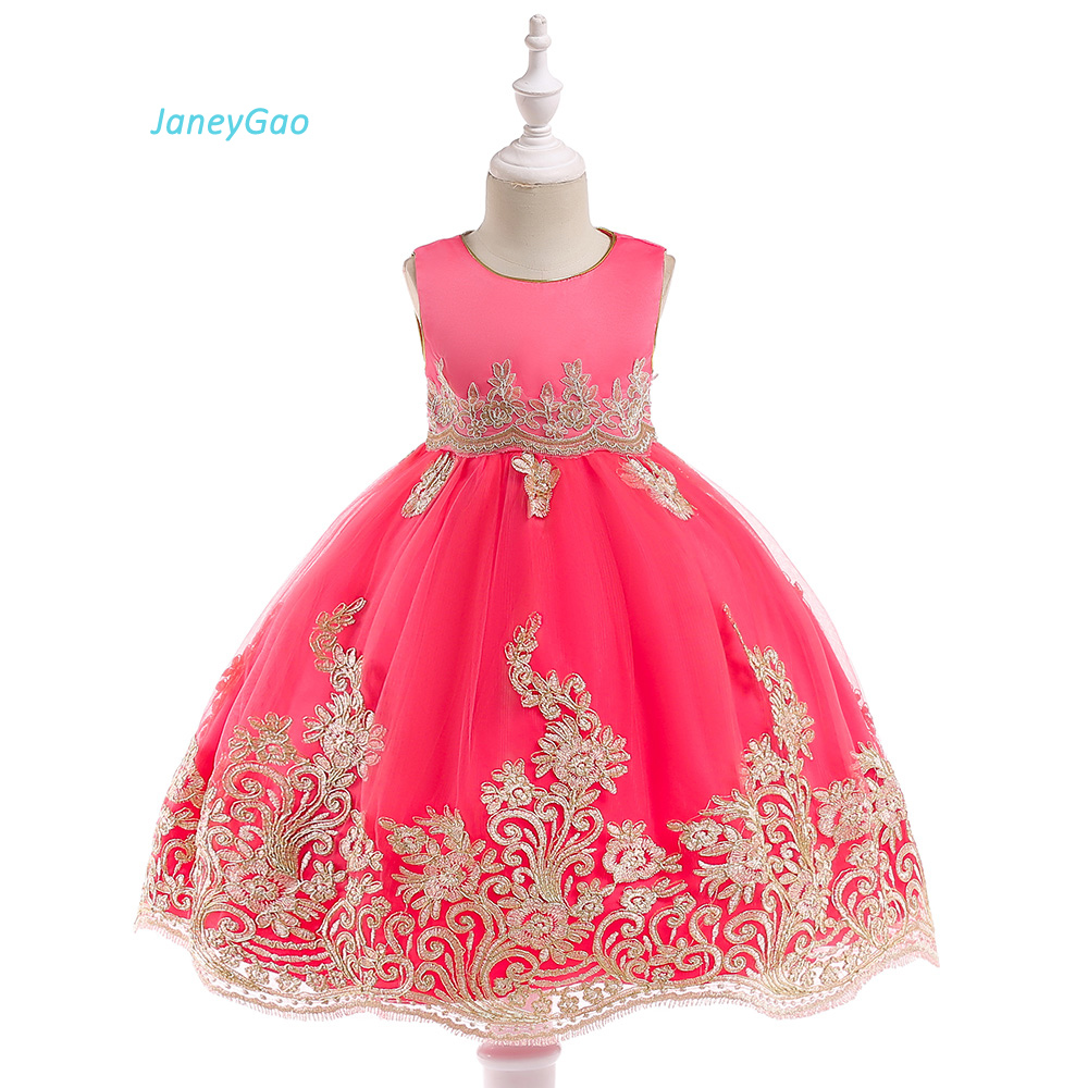 JaneyGao   Flower     Girl     Dresses   For Wedding Party Little   Girl   Formal Gown Birthday Prom Pageant Kids First Communion   Dresses   2018