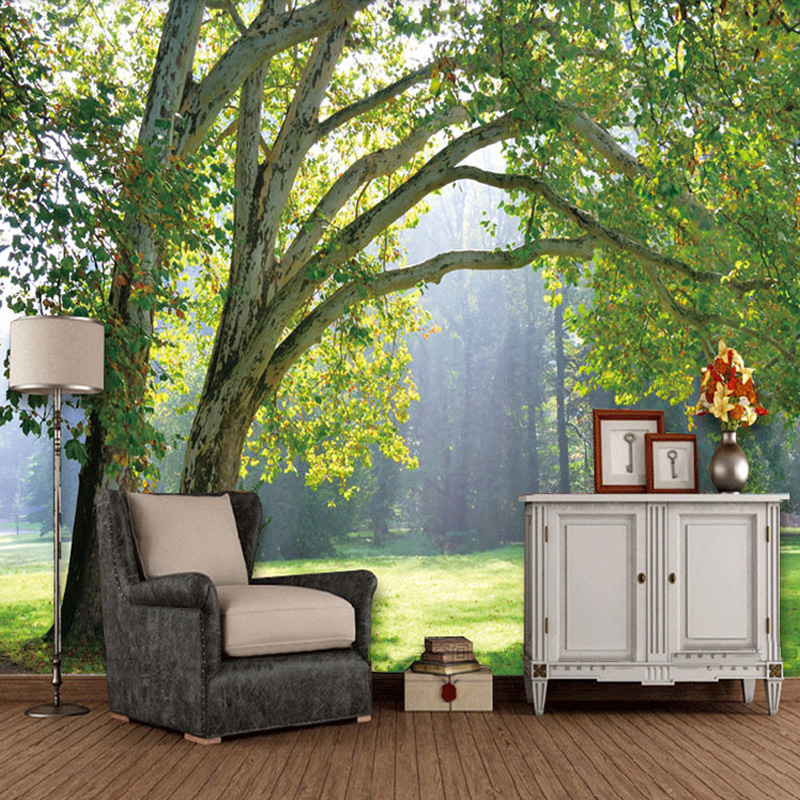 Custom 3D Photo Wallpaper 3D Stereoscopic Green Trees Forest Scenery Living Room Sofa TV Background 3D Wall Mural Wallpaper