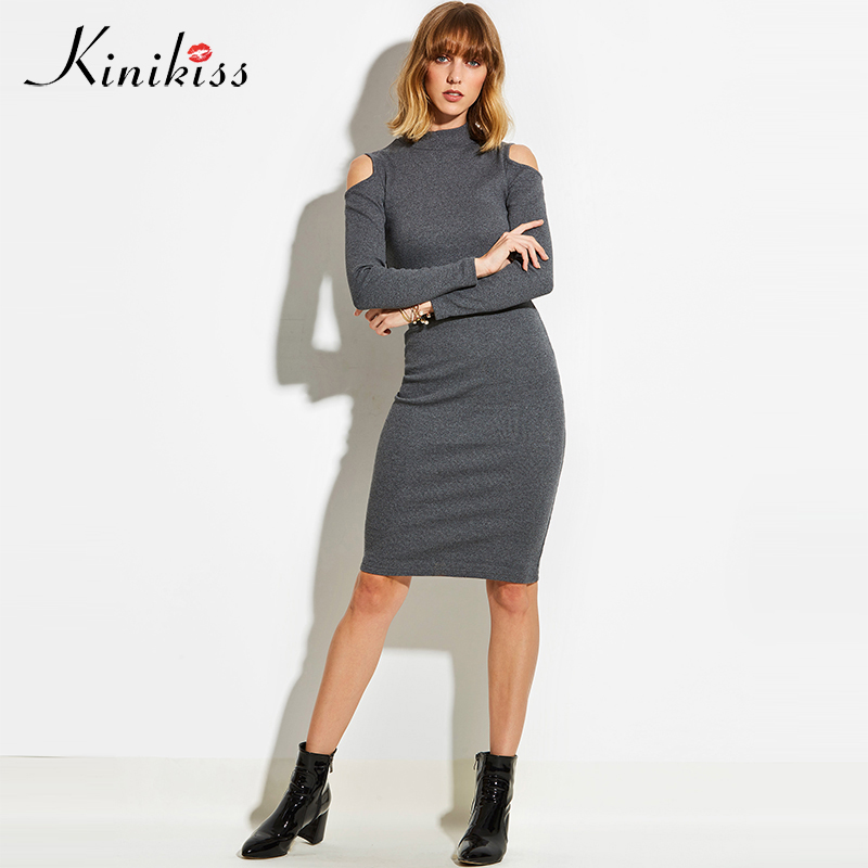 Kinikiss Autumn Women Knitted Sweater Dress High Collar Cold Shoulder Turtleneck Knitting Dress Long Sleeve Office Tight Dress